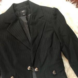Black Pinstripe Business Blazer Jacket